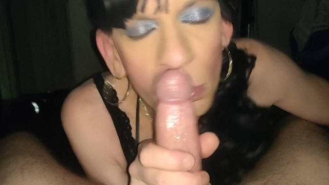 Hungry sissy gets Messy facial 17