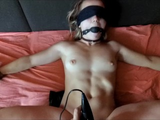 Horny girl tied to bed and get vibed and fucked. POV