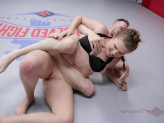 Stephie Staar owned in mixed nude wrestling match at Evolved Fights