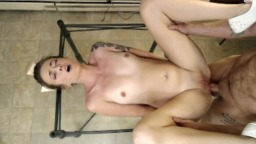 Little Rose takes cock and piss deep in her ass, fucks hard, pisses, facial
