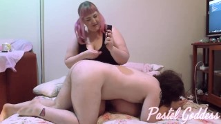 BBW Gamer Girl Whips Slave with Controller Cable & Cums - Pastel Goddess