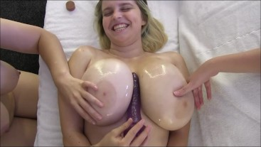 Oil Boob Play with Pear and Teeg HD