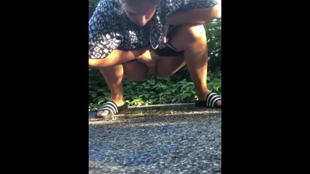Squat pee urinal Teen squats to pee in public
