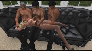 Hot Blonde Bunny Fondled in Pantyhose by 3 Guys