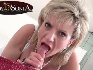 Beauty sucking a hard cock...