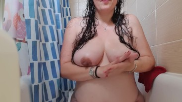 Pregnant MILF Lathers Up and Plays with Huge Titties in the Shower