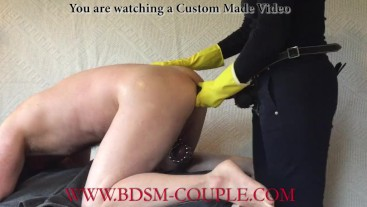 Miss M. fucks her slave HARD with a 36 cm long dildo for 15 MINUTES!