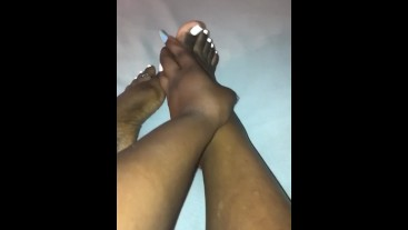 Freshly done, Oiled feet gets played with