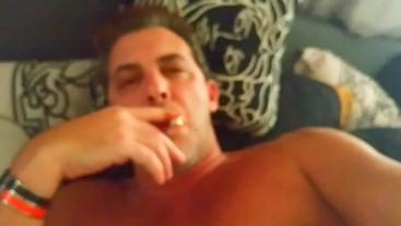 Sexy Smoker Guys smoking cigarettes . Daddy wakes up smoking plays w Cock