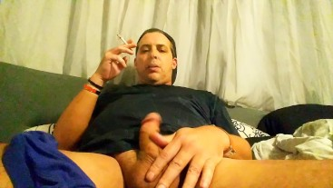 CAUGHT DAD ON PHONE Smoking Cigarette & Fingering Ass ! Straight Dad Solo