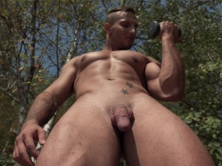 Outdoor gay workout porn with with one of...