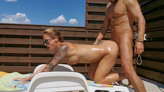 Horny amateur oil anal sex . Outdoor anal creampie.
