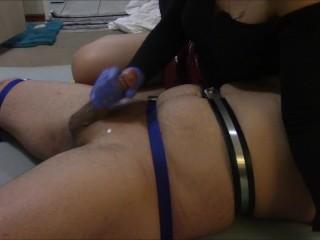 Mistress sounding her slave then edges him without letting him cum