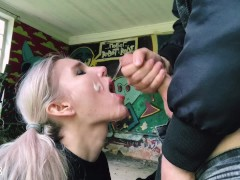 HARD FUCK PUNK GIRL on an abandoned construction site, CUM ON FACE - RedFox
