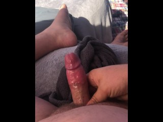 Stroking cumming in my tent while watching my...