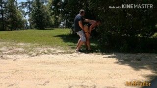 Quick fuck and cum dump at public campground