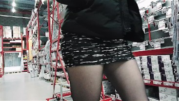 hidden cam spiying a big butt MILF in miniskirt and pantyhose in diy store