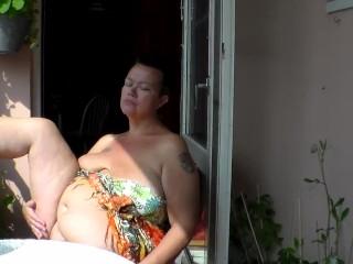 Jen is all naked balcony...