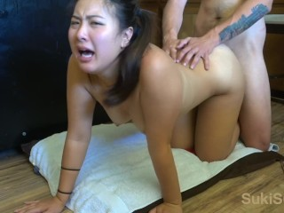 Rough FACEFUCK and fucking her on the kitchen floor @sukisukigirlreal