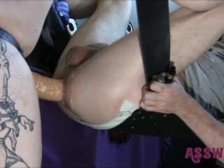 Milf Huge Pegging video: Our Tattooed Milf Gives Him A Rough Pegging With a Huge Strapon.