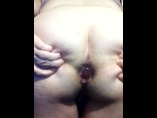 First Time Trying to Push Our Small Butt Plug Mature BBW MILF