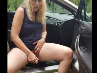 Masturbation in the woods in the parking lot