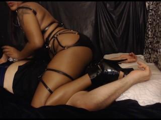 Hot ebony dominatrix edges submissive...