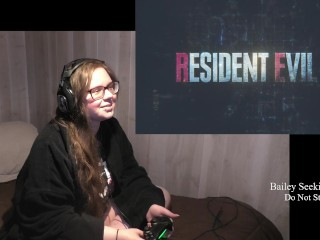 BBW Gamer Girl Drinks and Eats While Playing Resident Evil Part 1