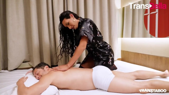 Busty latina tranny deepthroating cock Transbella - busty tranny masseuse seduces and fucks her client
