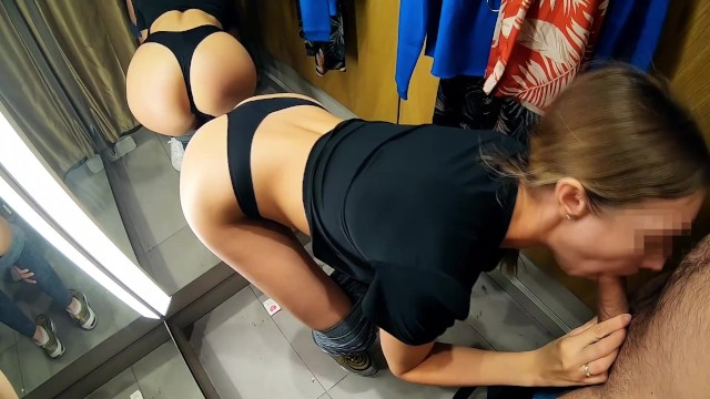 Athletes male nude Public blowjob in fitting room with athletic round ass girl