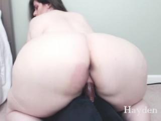 Amazing bbw girlfriend rides big dildo like a...