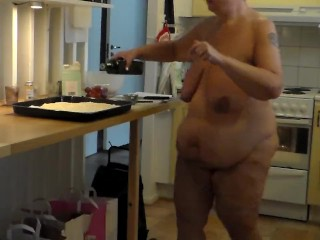 Jen is all nude and baking...