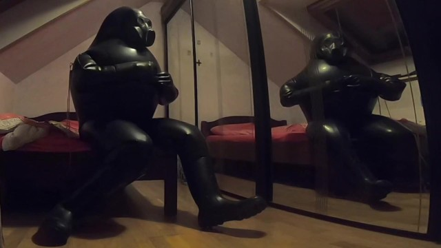 Rubber inflation fetish Inflated and deflated in cyborg heavy rubber suit from md-latex