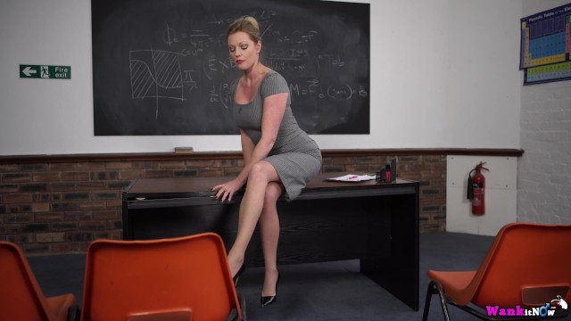 College Lecturer Rewards Star Student By Fucking Herself On The Desk 13