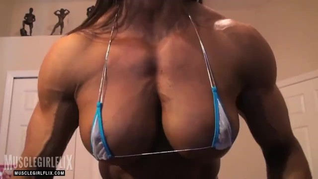 Female naked hardbodies - Jacked female bodybuilder pec flex