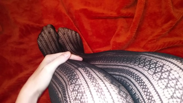 Slowly taking fishnet stockings off