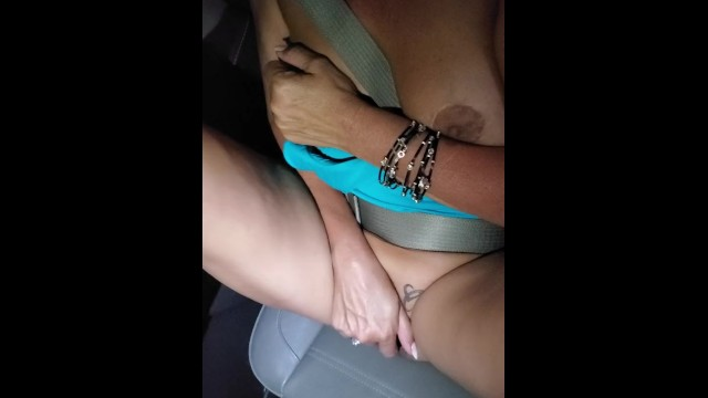 Finger fucking myself in the car 6