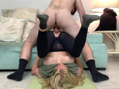 Stepmom gets fucked by stepson while doing yoga to help his porn addiction
