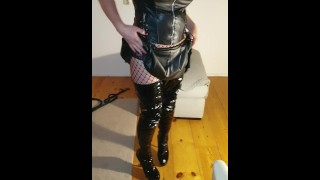 Short body movie of Mrs Suzanne with shiney outfit black short skirt panty