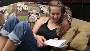 PART 1: Step Sister gets Horny reading erotica to Bro POV - Harper the Fox