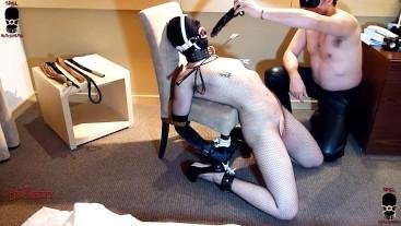 The dildo in ring gagged slut's throat silences her whipping-FULL MOVIE!