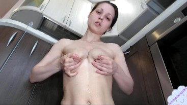 Young Mom milking her beautiful tits and wispering with her lovely voice