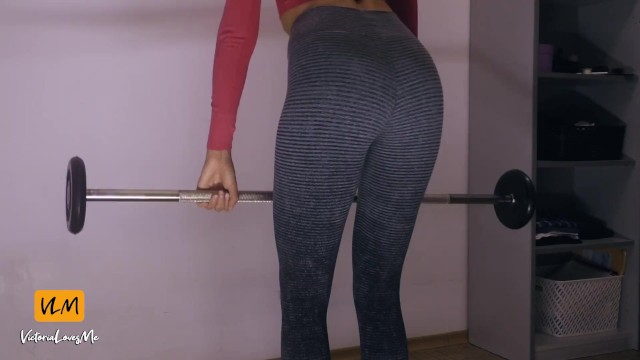 Home fitness workout in yoga pants and sloppy blowjob after 6