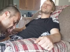 Sucking off straight young blond while his girlfriend is in the other room