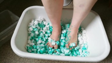 Fun with packing peanuts and green paint
