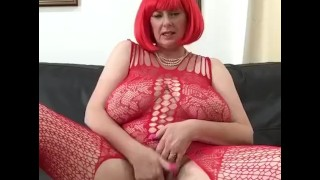 Annabel red crotchless bodystocking