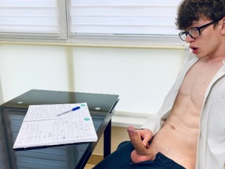 Wanking he is too horny for study 23cm...