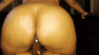 Thick Ebony Babe Creaming and Riding 8inch Dildo