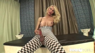 Barbarella, elegant and nice blonde shemale with a long cock dominates guy