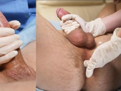 nurse jerks off in latex glove big cock and makes prostate massage. handjob